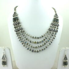 NATURAL LABRADORITE GEMSTONE BEADED NECKLACE & EARRINGS 60 GRAMS
