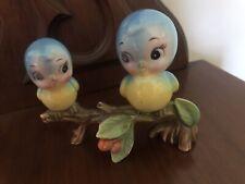 Vintage Norcrest Pair of Blue Bird Figurines On Branch Lefton 1950 Japan*