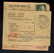 1944 Germany Dachau Concentration Camp Parcel Cover Forwarded to Flossenburg KZ