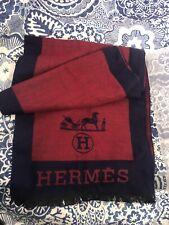 Hermès Cashmere Men's Red & Blue Scarf Luxury Designer Accessories Warm Winter