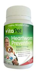 Vitapet Heartworm Prevention Tablets 200mg 100pack For Dogs Heart Worm Worming