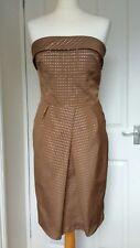 Hermoso Vestido de palabra de honor Zara Marrón M 10 Reino Unido Ocasión Fiesta Boda Cóctel