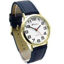 Ravel Mens Super-Clear Easy Read Quartz Watch Blue Band White Face R0105.26.1A