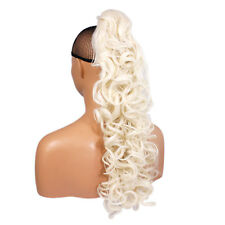 """22"""" PONYTAIL Clip in Hair Extensions CURLY White Blonde REVERSIBLE Claw Clip"""