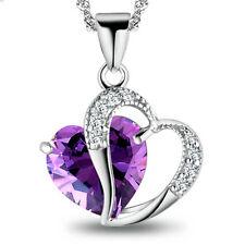 Women's Sterling Silver Purple Crystal Heart Pendant Necklace Fashion Jewelry