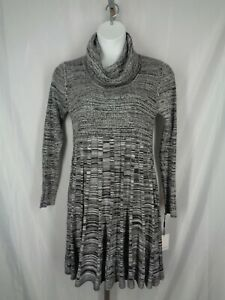 Calvin Klein Sweater Dress Size XL Black Gray Marled Knit Cowl Neck New
