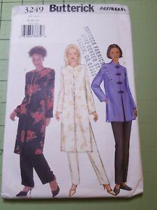 Butterick Pattern 3249 Tunic Cheongsam Neckline Pants Sizes 8 10 12 UNCUT