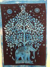 Indiano Arazzo Parete Appendere MANDALA POSTER Dimensioni Albero Elefante Blu ARAZZI