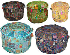 18'' Indian Patchwork Pouf Cover Round Vintage Moroccan Footstool Pouffe Seating