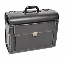 Pilot Case Briefcase Laptop Travel Doctor Rep Bag with Combination Locks Black