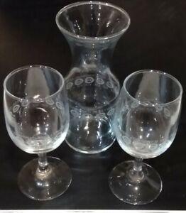 Vintage Cincinnati Reds VIP MLB Wine Glasses and Carafe Etched baseball