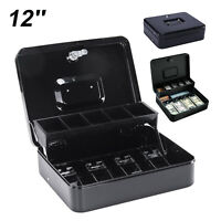 "12""Petty Cash Box Black Metal Security Money Safe Tray Holder Key Lock Lockable"