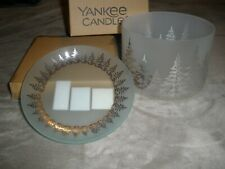 NIB Yankee Candle Winter Trees Barrel  Candle Shade and Tray