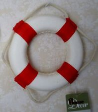 "5.5"" Nautical Life Buoy Ring Wall Decor ~ Red & White ~ Beach Decor"