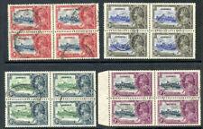 Jamaica 1935 KGV Silver Jubilee set complete blocks VFU. SG 114-117. Sc 109-112.