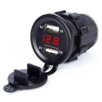 12V/24 Dual USB Port Car  Lighter Socket Splitter Charger LED Display
