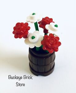 NEW Lego Plant - RED & WHITE FLOWERS Butterfly In Container/ Brown Barrel