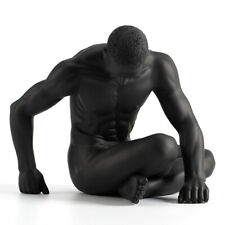 Art Sculpture Resin Black Naked Man Setting Posture Both Hands Support Statue