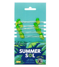 Summer Sol 25 Bulb Set Battery Operated Rice Lights Yellow Green Pineapple NEW