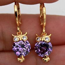 18K Yellow Gold Filled- Chic Owl Bird Amethyst Gemstone Hoop Party Girl Earrings