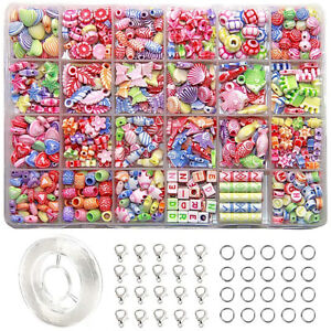 24 Arten Perlen Für Mädchen Spielzeug Kinder Armband Kette Schmuck DIY Macht Set