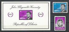 Liberia 1963 Sc# C160-61 Airmail Sc# 414 set John Kennedy miniature sheet MNH