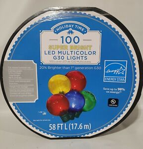 Holiday Time 57 ft, 100 Count Multicolor  LED Super Bright G30 Christmas Lights
