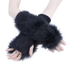 PAWSTAR Paw Arm Warmers - Furry Fingerless Gloves Costume adult Black [BK]3101