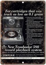 "Empire Troubador 598 Record Playback 12"" x 9"" Retro Look Metal Sign D106"