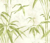Wallpaper Designer Green Bamboo on Cream Faux