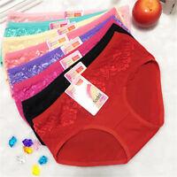 4 Pcs Pack Lace Flower Modal Girl Women Briefs Panties Underpants Underwear