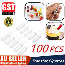 100 Pcs Mini Clear 4ml Plastic Transfer Pipettes Food Cupcake Squeeze Dropper AU