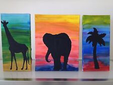 Decorative paintings, 3 in a line, animal, African infuence