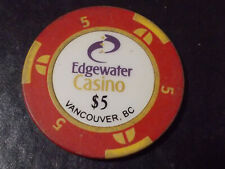 New ListingEdgewater Casino $5 casino gaming poker chip ~ Vancover B.C., Canada