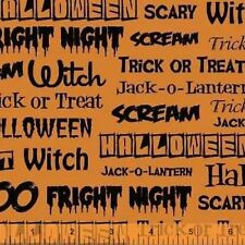 FRIGHT NIGHT ORANGE HALLOWEEN FABRIC