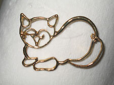Cat Pin Gold Tone Outlined