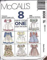 8008 UNCUT McCalls Vintage Sewing Pattern Girls Empire Waist Dress Pinafore OOP
