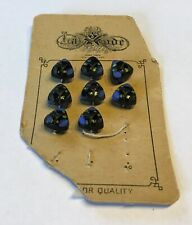 "Vintage Antique buttons on a card, 5/8"", triangle shape, blue/black/green design"
