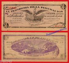 MEXICO TESORERIA DE LA FEDERACION Saltillo 50 Centavos 1914 Pick S644  MBC / VF