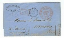 1858 New York Stampless Transatlantic to France, Br Service per Ship 'America'