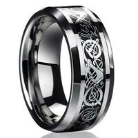 Punk Mens 8MM Celtic Dragon Titanium Steel Men Band Ring Wedding Jewelry Gift