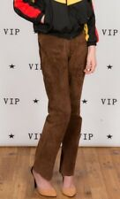 Vintage brown suede leather high waist trousers by Outer Edge
