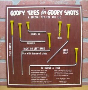 GOOFY TEES for GOOFY SHOTS Sign Plaque c1952 SAND TRAP GOLF SHOP Hialeah Florida