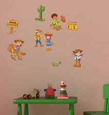 Lot de cartoon cowboys wall art decal auto adhésif stickers chambre salle de jeux