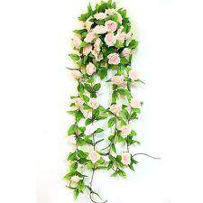 Artificial Light Pink Rose Leaf Vines Garland Plants Home Decoration Garden Z4C1