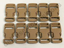 LOT OF 10 - Side Release Side Squeeze Single Adjust Buckle 1 INCH - SAND