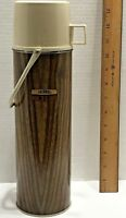Vintage 1 Quart Thermos Vacuum Bottle Wood Grain Pattern Lunchbox Thermos USA