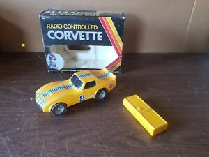 Vintage 1977 Radio Controlled Yellow CORVETTE Vanity Fair KOREA w Box