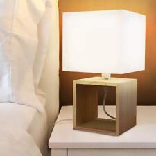 Lampada Da Tavolo Lume Da Comodino In Legno e Tessuto Bianco Abatjour 33 x 18 cm