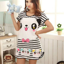 FD2389 Summer Women Cartoon Cotton Night Skirt Pajamas Sleeping Dress ~Panda~